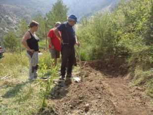 Volunteer day to create a new pond in the apple orchard in Alinyà